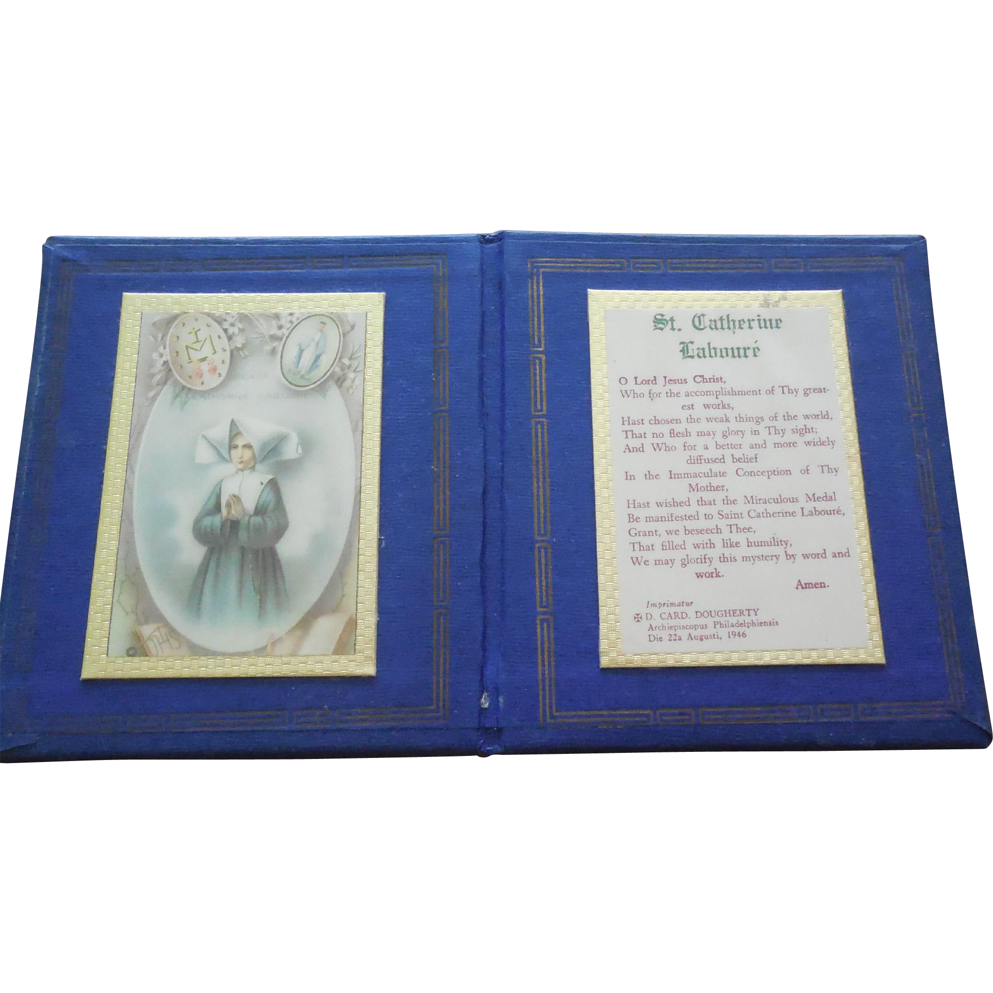 Vintage St Catherine Laboure Holy Card Book & Prayer - Miraculous Medal