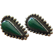 Older Vintage Mexico Silver Earrings With Beaded Border & Green Stones