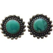 Vintage Screw On Earnut Earrings Sterling Silver With Turquoise Stones