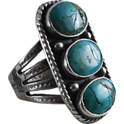 Vintage Native American 3 Turquoise Silver Ring With Arrow and Water Symbols