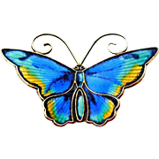 "Vibrant David Andersen Butterfly Brooch - 1.75"" Sterling Silver with Blue Green Yellow and Black Enamel"