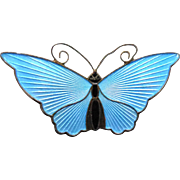Beautiful Norway Sterling Enamel Sky Blue Butterfly Signed David Andersen - 2.125""