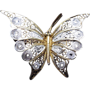 Vintage Wirework Butterfly Two Tone by ALIOTO ADRIANA Itally 800 Silver
