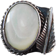 Vintage, possibly Old Pawn Native American Ring - Silver with Shell & Feather