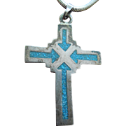 Beautiful Mexican Sterling Silver Cross Necklace With Inlaid Blue Green Stone Arrows Signed RMT Taxco