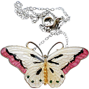 Beautiful Sterling Enamel Butterfly Pendant Necklace - Signed OX - Tina Oxager D