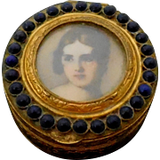 Lovely Romantic Vintage Portrait Pillbox or Snuff Box from Italy with Gilt Blue Glass Stones