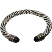 Sterling Silver Cable Twist Bracelet with Onyx Ends - Mexican Sterling Silver