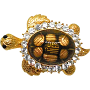Fabulous Vintage Crystal Turtle Brooch - Lucite Coated Top - Signed On Top Of Shell