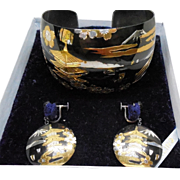 Vintage Japanese Sterling Silver Niello Jewelry Set in Original Presentation Box - Bracelet & Earrings