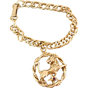 Vintage Charm Bracelet With Large Lion Charm Jungle Cat over Star or Leo Zodiac