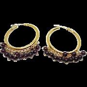 Beautiful 14K Gold Large Hoop Earrings With Dangling Purple Garnet Stones