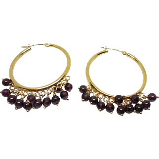 Beautiful 14K Gold Large Hoop Earrings With Dangling Purple Garnet Stones