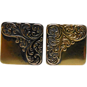 Victorian Cufflinks Square - Clip Backs Fancy Design & Patent Date 1881
