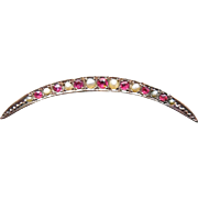 Edwardian Crescent Moon Brooch - 9K Gold Birmingham 1902 w Pearls and Red Glass
