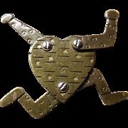 Thomas Mann Techno Romantic Running Heart Runaway Heart Brooch Signed TM and Hand Signed MANN