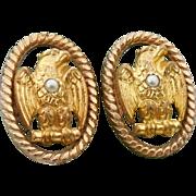 Victorian Era American Eagle Cufflinks Bean Back Cufflinks Eagle & Seed Pearl