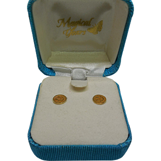 14K Gold Signed Van Dell Smiley Happy Face Earrings In Original Box