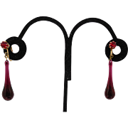 Amazing Vintage Glass Dangle Drop Earrings - Lovely Purple Red Color