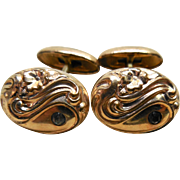 Antique Victorian Era Pivot Link Cufflinks with Forget Me Not Flowers In Repousse