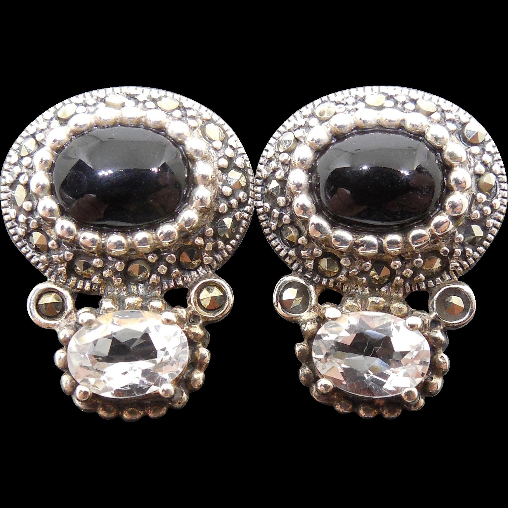 sterling silver tribal marcasite gemstone earrings 925