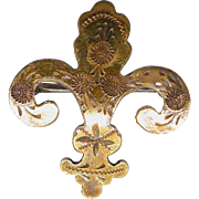 Antique Fleur De Lis Watch Pin Brooch With Engraved Design - Gold Filled