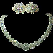 "Fabulous Vintage Aurora Borealis AB Crystal Graduated Necklace & Earring Set - Necklace is 21"""