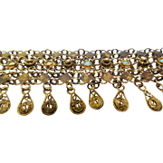 Antique Etruscan Revival Bracelet With Cannetille Dangles & Persian Turquoise 925