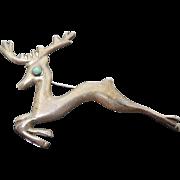 Big Vintage Mexican Sterling Silver Christmas Reindeer Deer Brooch Older Brooch with Eagle 1 Mark