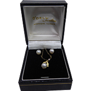 14K Gold Pearl Earring & Necklace Set Signed Carla In Original Jewelers Presentation Box