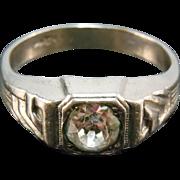 Vintage Art Deco Era Men's Ring With Glass Stone Signed Uncas - Size 11