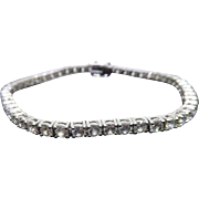 Beautiful Tennis Bracelet - CZ Crystals in Faux White Gold Unmarked Unsigned