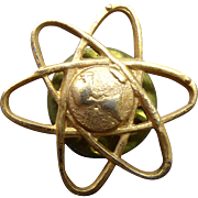 Vintage Atomic World Pin - Atom Nuclear World North America