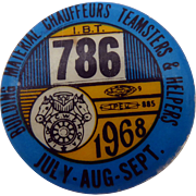 Vintage 1968 Union Pin IBT 786 Building Material Chauffeurs Teamsters Helpers