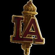 10K Gold Filled Enamel LA Torch Pin - Signed Arrow Thru S