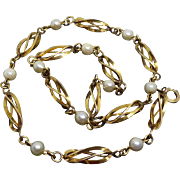 Fabulous Antique Ten Pearl Necklace with Twisted Cylinder Links