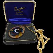 Beautiful Tara Ware of Dublin Double Sided Enamel Pendant Necklace Original Box