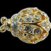 Rare Swan Signed Swarovski Crystal Ladybug Beetle Insect Brooch - Golden Filigree