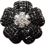 Gorgeous Black & Clear Crystal Brooch - Flower Shaped Silver Color Setting