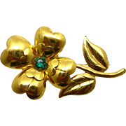 Vintage Gold Plated Green Rhinestone Flower Brooch