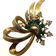 Vintage Gold Plated Green & Clear Rhinestone 'Comet' Brooch