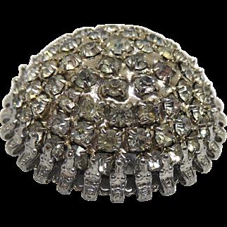 Vintage Domed Rhinestone Brooch Unsigned Igloo Sparkler!