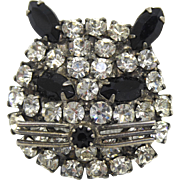 Vintage Crystal Cat Brooch - Black and White Crystals