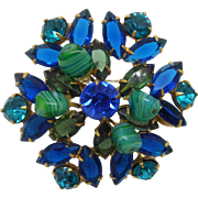 Gorgeous Vintage Brooch - Blue & Aqua Rhinestone with Green Swirled Glass Beads