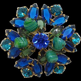 Gorgeous Vintage Brooch - Blue & Aqua Rhinestone with Green Swirled Glass Beads
