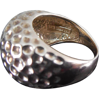 Designer Signed Thai Sterling Silver Textured Nugget Like Dome Ring - Signed 7