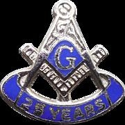 Vintage Sterling Enamel 25 Year Masonic Lapel Pin