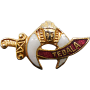 Vintage Tebala Shriners Pin with Red & White Enamel - Saber and Crescent Moon