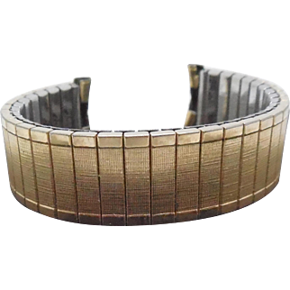 Vintage Mid Century 10K Gold Filled Spiedel Wristwatch Band Curved Lugs - Mens
