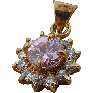 Pretty Estate Pendant - Gold over Sterling Silver Purply Pink & Clear Stones